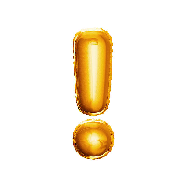 Balloon exclamation mark 3D golden foil realistic alphabet stock photo