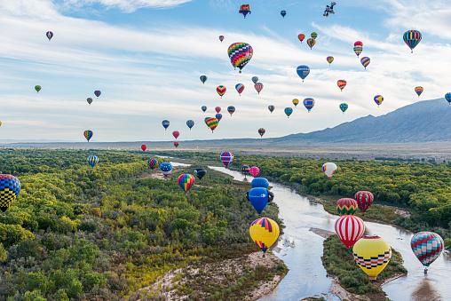 Balloon Flight at the Albuquerque International Balloon Fiesta in Albuquerque, New Mexico.