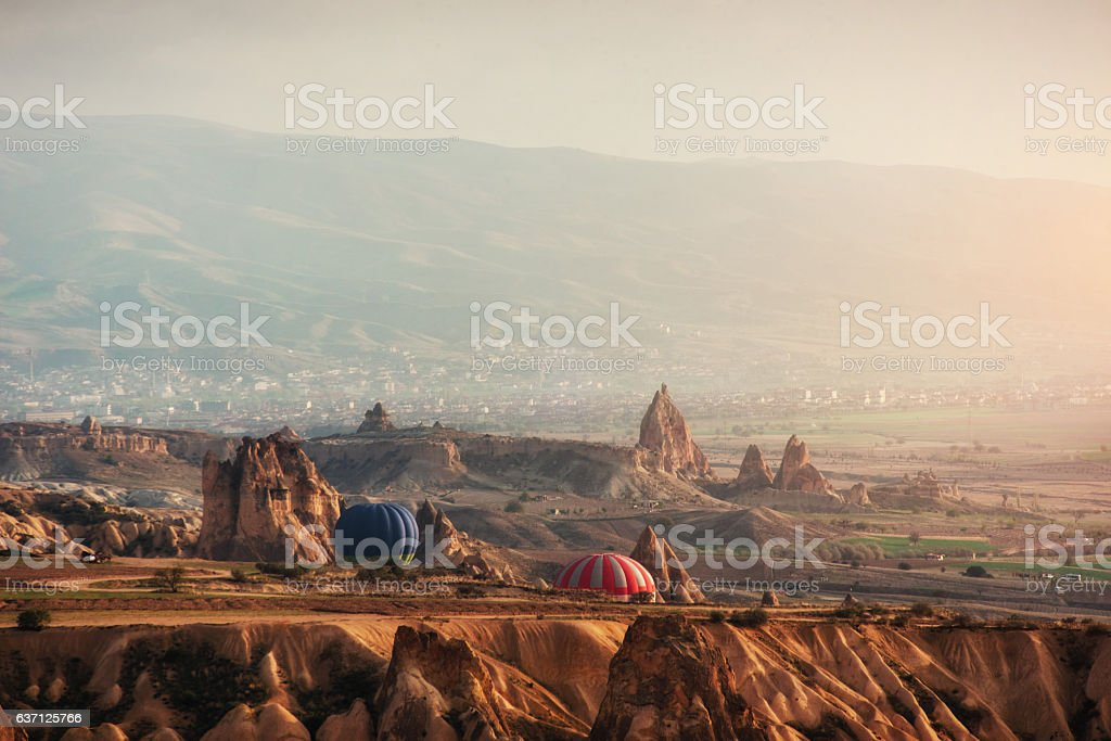Balloon foggy morning in Cappadocia. TURKEY. blurred images stock photo