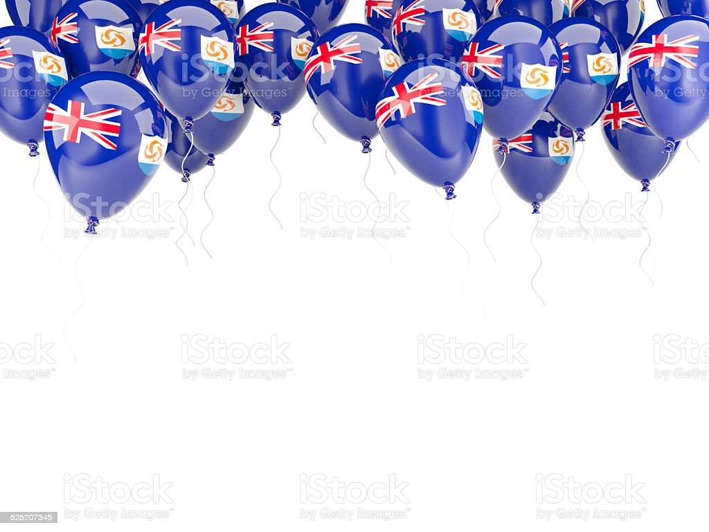Balloon frame with flag of anguilla stock photo