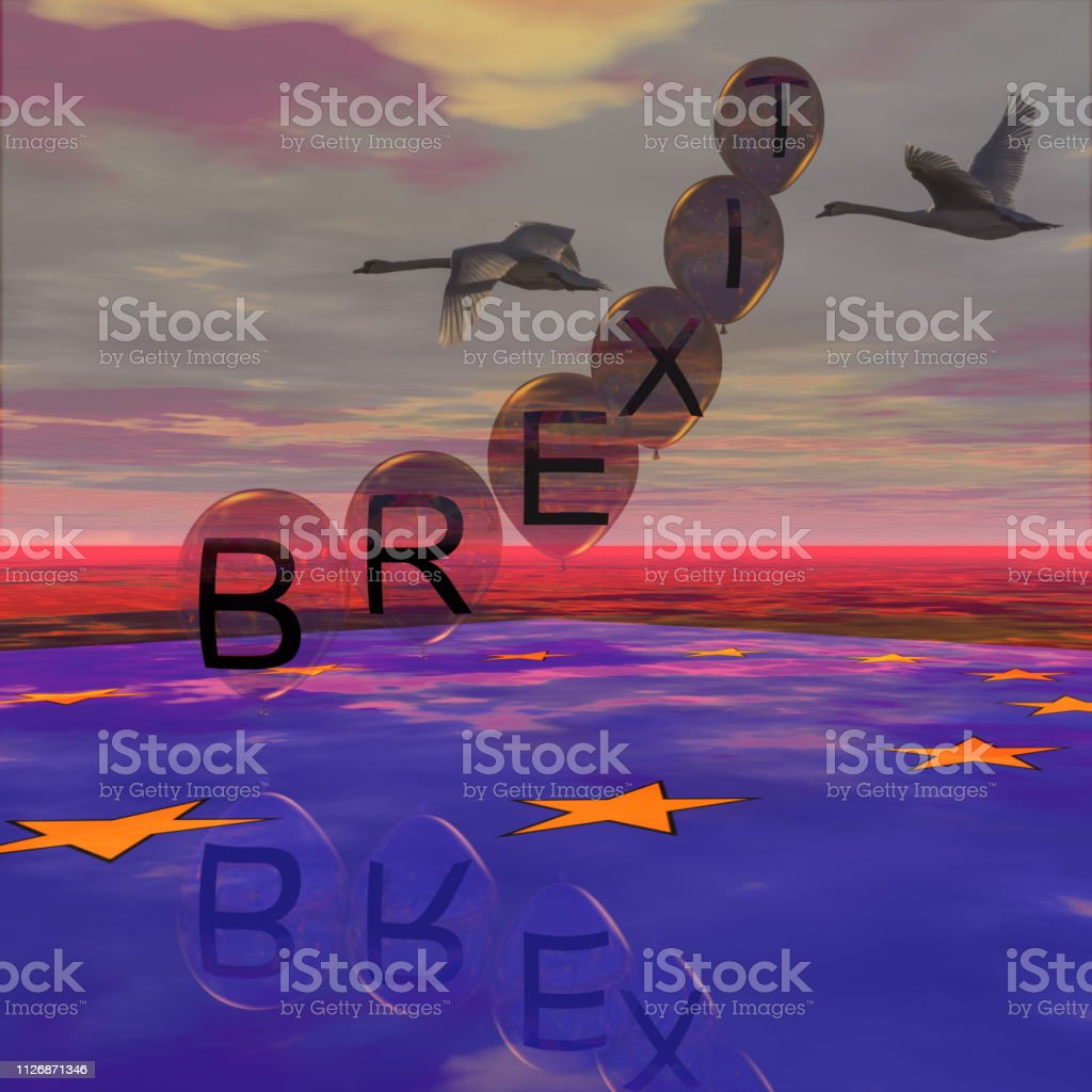 BREXIT balloon goes up stock photo