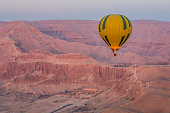 Flying over the valley of the kings of the temple Hatchepsout