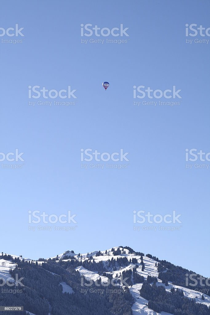 Balloon in the sky - Chateau D'Oex . Switzerland royalty-free stock photo