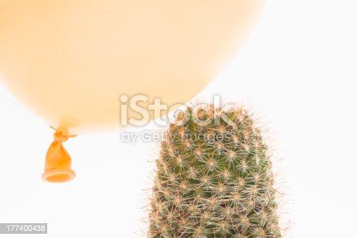 istock Balloon landing on a cactus 177400438