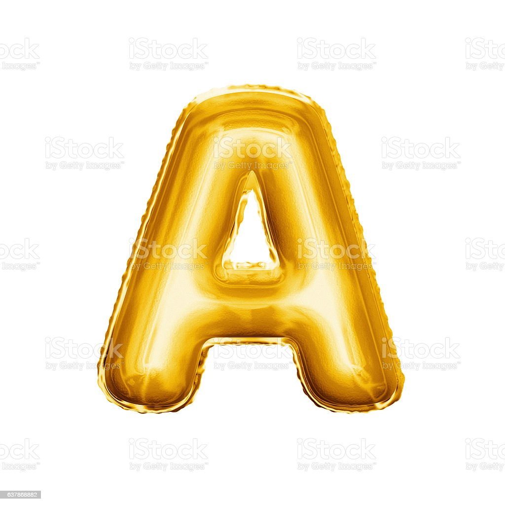 Balloon letter A 3D golden foil realistic alphabet stock photo