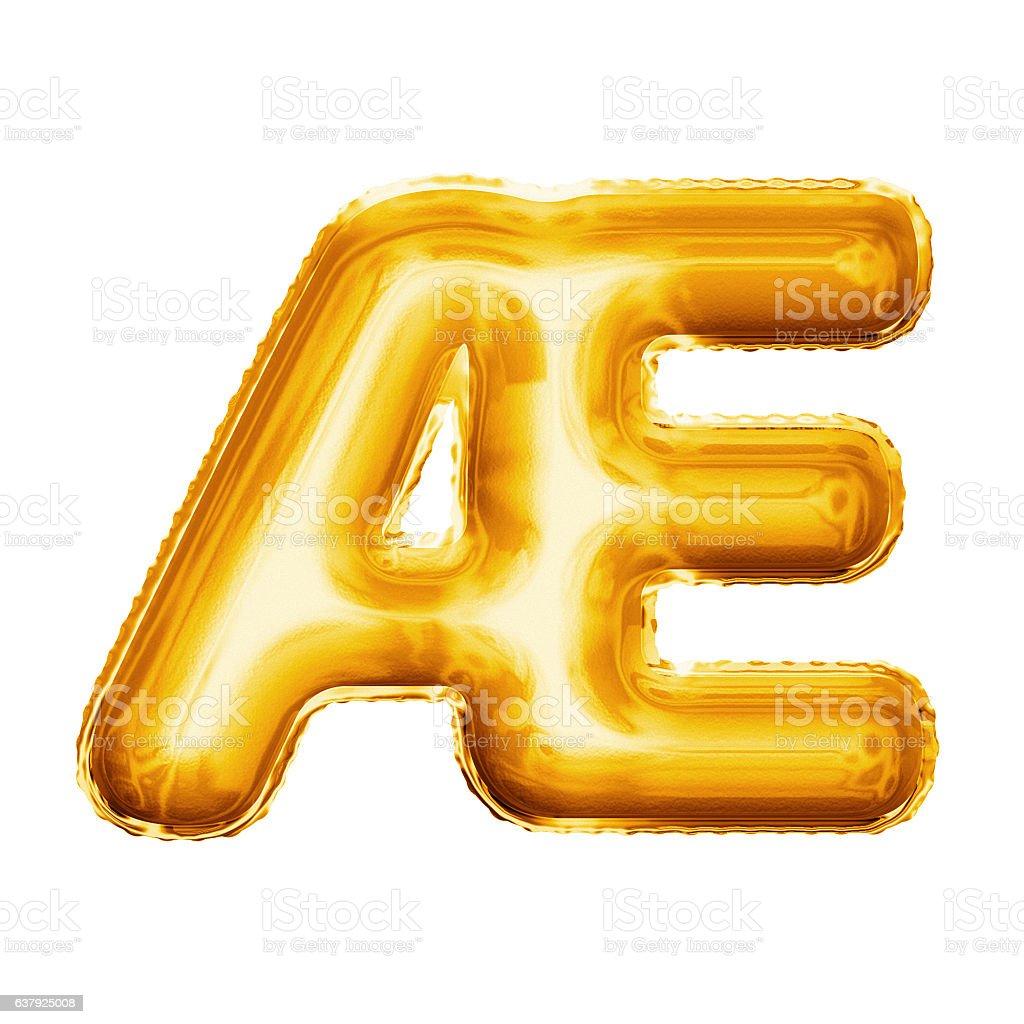 Balloon letter AE ligature 3D golden foil realistic alphabet stock photo