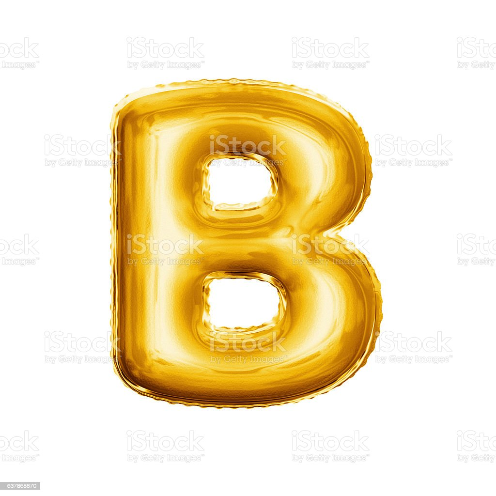 Balloon letter B 3D golden foil realistic alphabet stock photo