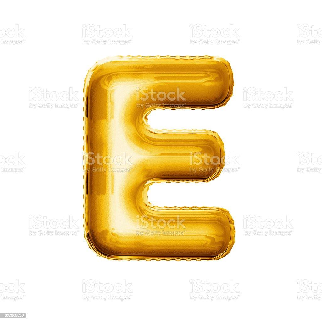 Balloon letter E 3D golden foil realistic alphabet stock photo