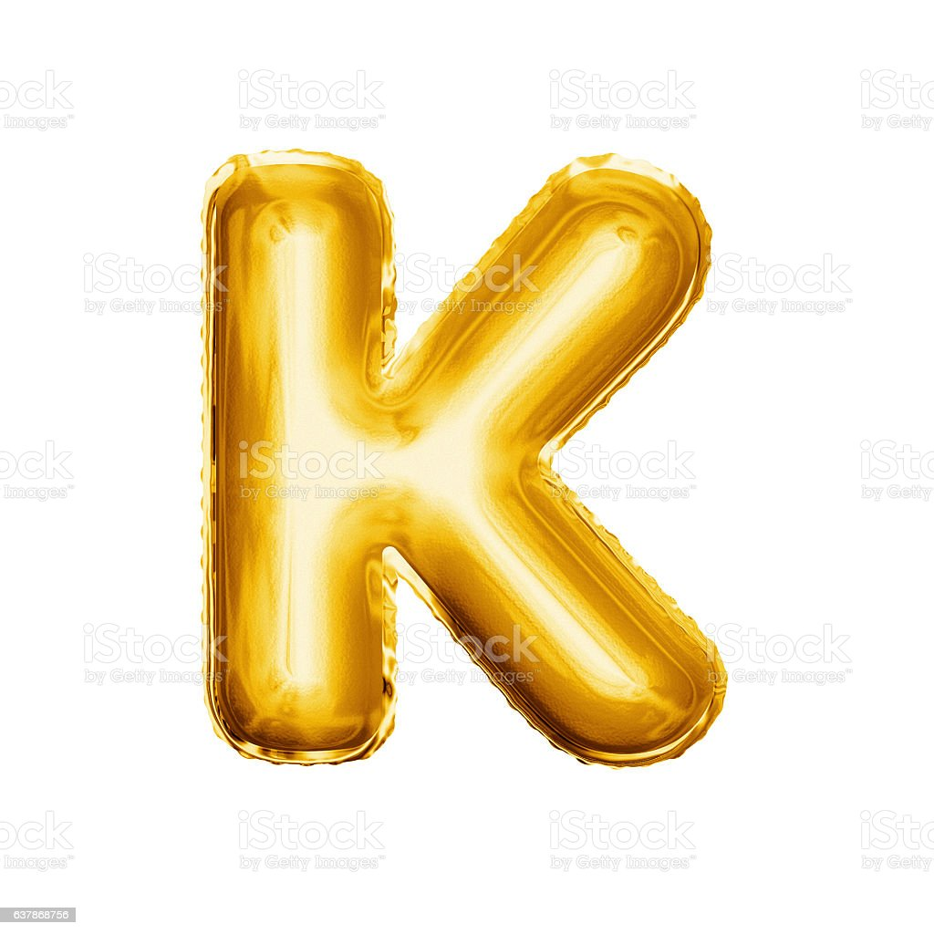 Balloon letter K 3D golden foil realistic alphabet stock photo