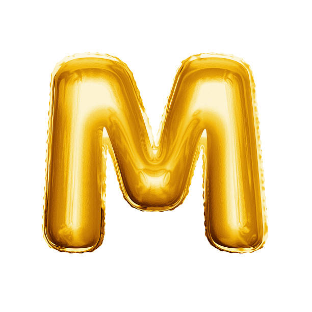 Balloon Letter M 3D Golden Foil Realistic Alphabet Stock Photo