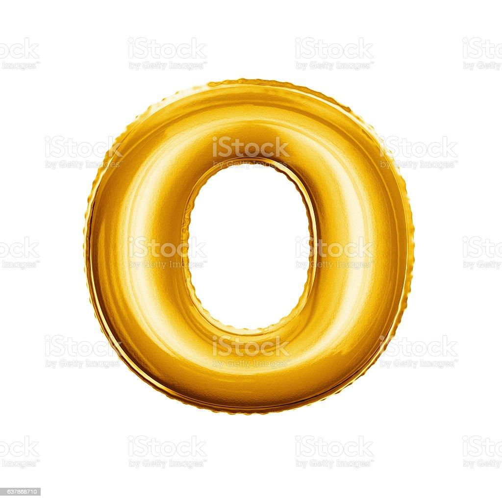 Balloon letter O 3D golden foil realistic alphabet stock photo