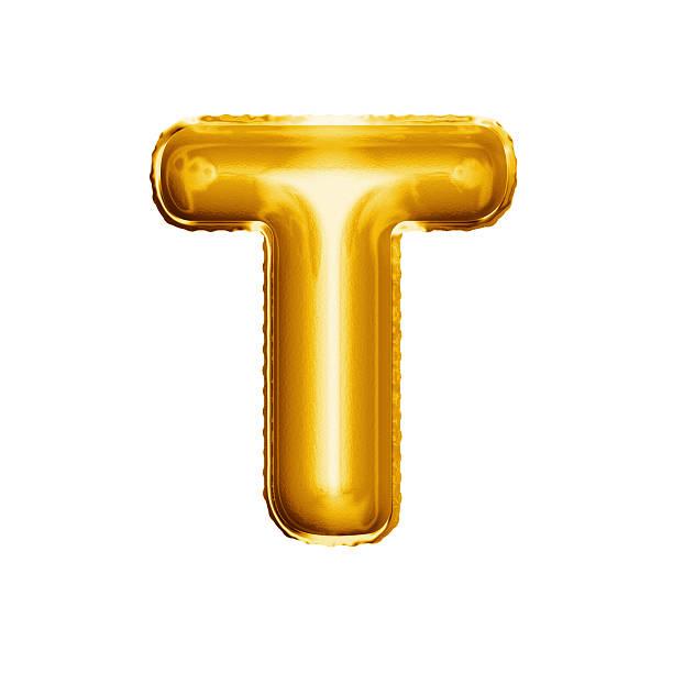 balloon letter t 3d golden foil realistic alphabet - t stock-fotos und bilder