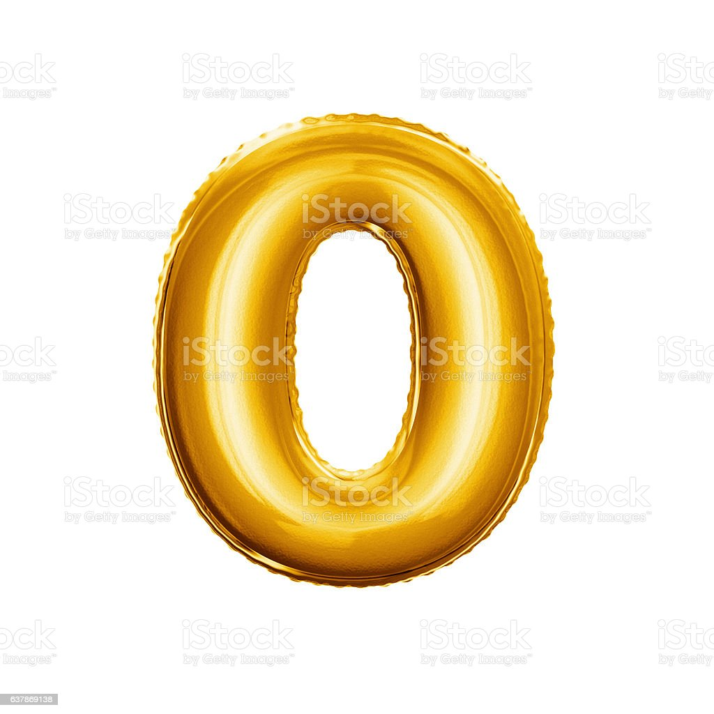 Balloon number 0 Zero 3D golden foil realistic alphabet stock photo