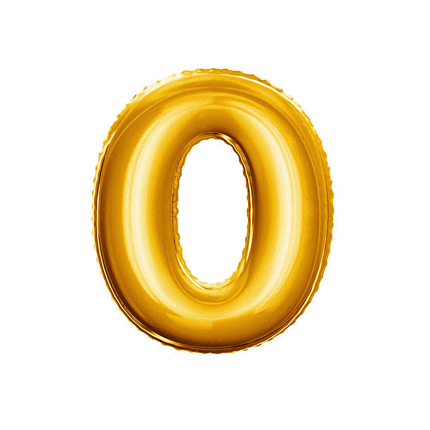 balloon number 0 zero 3d golden foil realistic alphabet - zero stock pictures, royalty-free photos & images