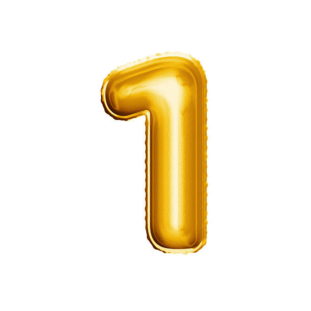Balloon number 1 One 3D golden foil realistic alphabet stock photo