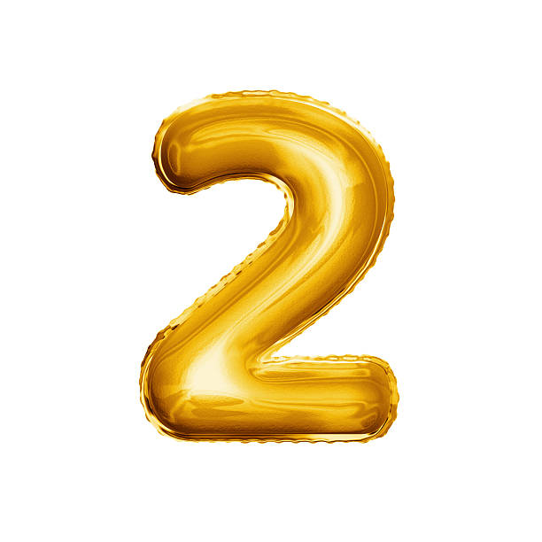 Balloon number 2 Two 3D golden foil realistic alphabet stock photo