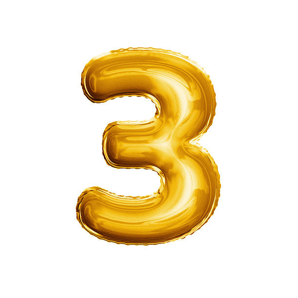 balloon number 3 three 3d golden foil realistic alphabet - number 3 stock photos and pictures