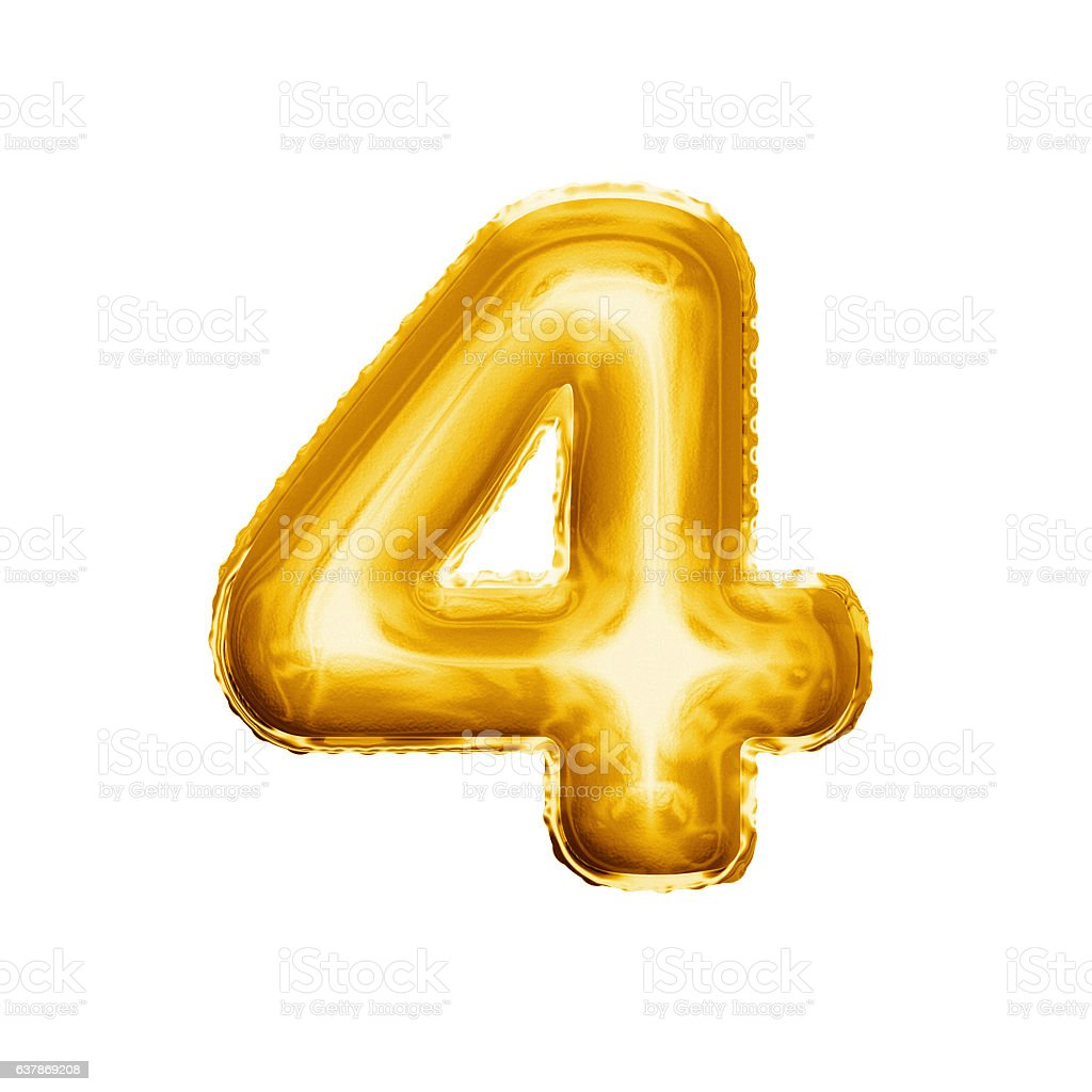 Balloon number 4 Four 3D golden foil realistic alphabet stock photo