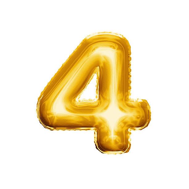 Balloon number 4 Four 3D golden foil realistic alphabet stock photo