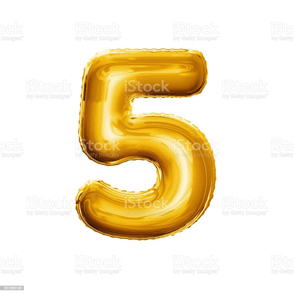 Balloon number 5 Five 3D golden foil realistic alphabet stock photo