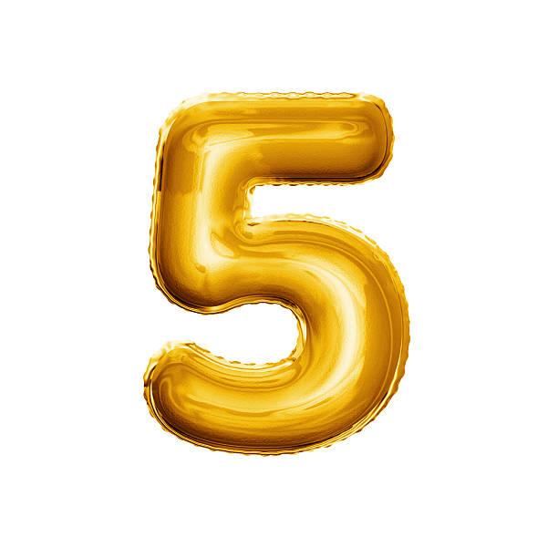 balloon number 5 five 3d golden foil realistic alphabet - numero 5 foto e immagini stock