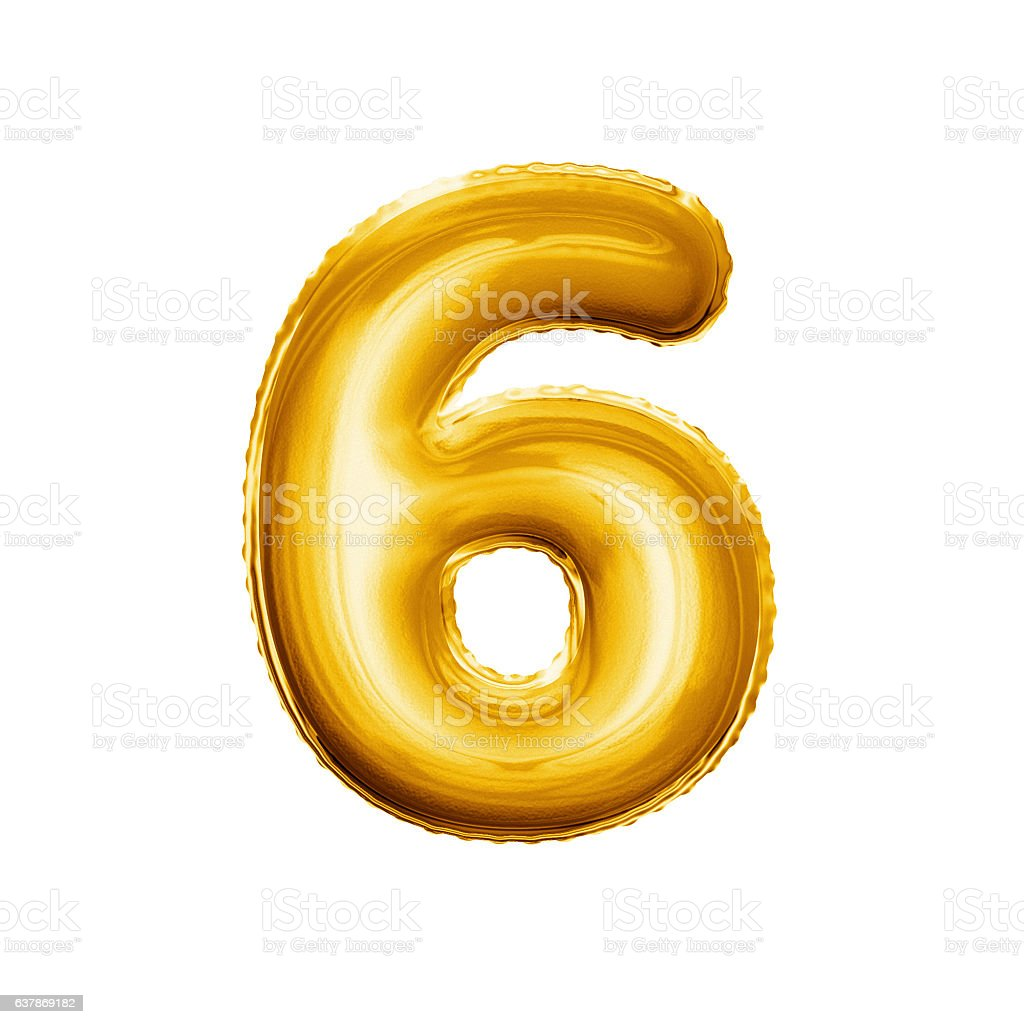 Balloon number 6 Six 3D golden foil realistic alphabet stock photo