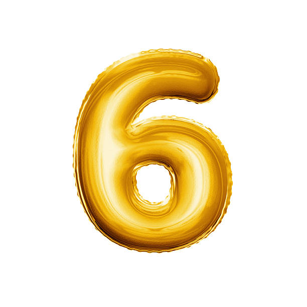 balloon number 6 six 3d golden foil realistic alphabet - number 6 stock photos and pictures