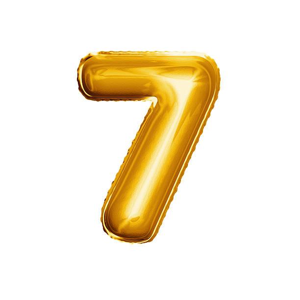 Balloon number 7 Seven 3D golden foil realistic alphabet stock photo