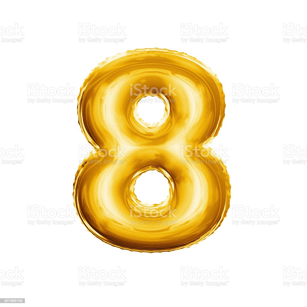 Balloon number 8 Eight 3D golden foil realistic alphabet stock photo