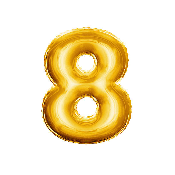 balloon number 8 eight 3d golden foil realistic alphabet - number 8 stock pictures, royalty-free photos & images