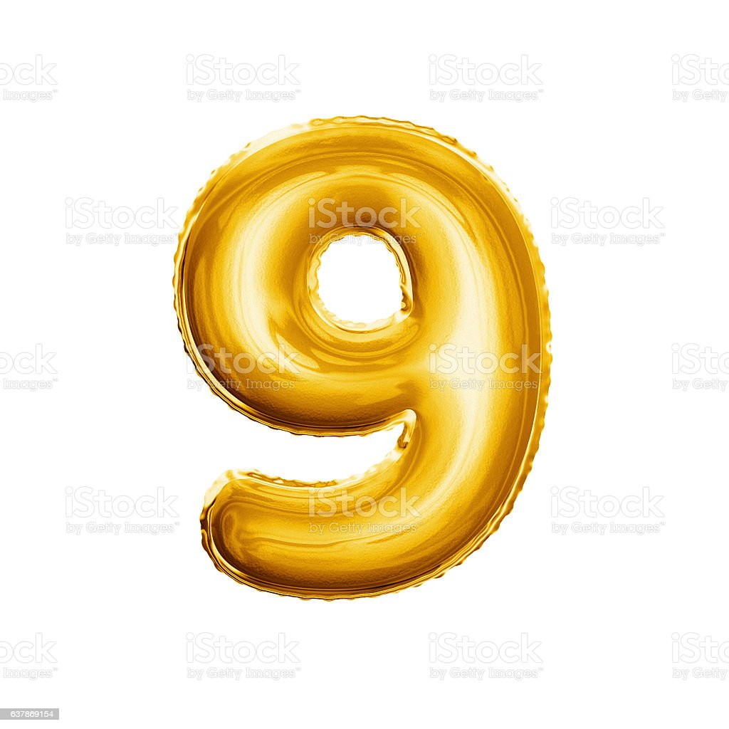 Balloon number 9 Nine 3D golden foil realistic alphabet stock photo