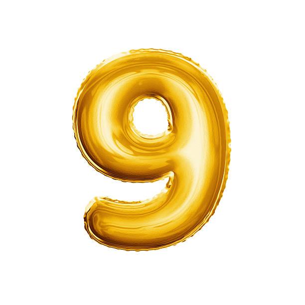 Balloon number 9 Nine 3D golden foil realistic alphabet stock photo