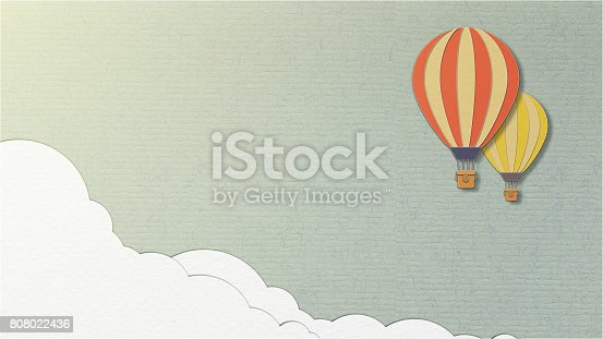 istock Balloon on sky background or blue background, paper cut style 808022436