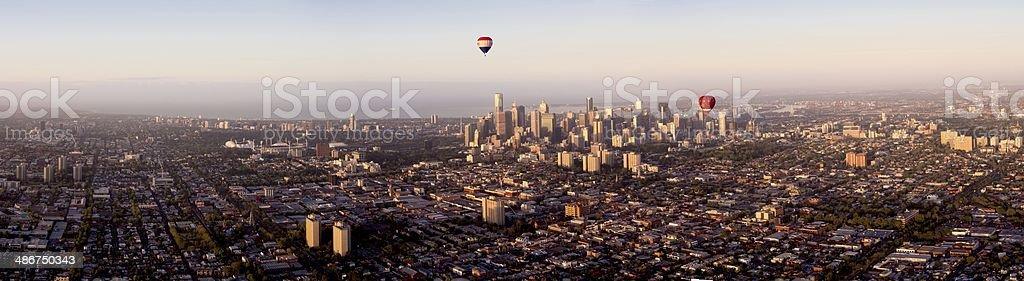balloon over melbpurne stock photo