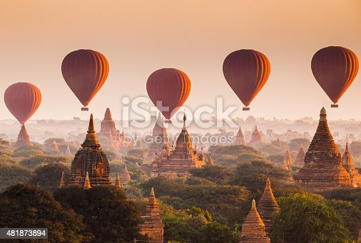 istock Balloon over plain of Bagan in misty morning, Myanmar 481873894