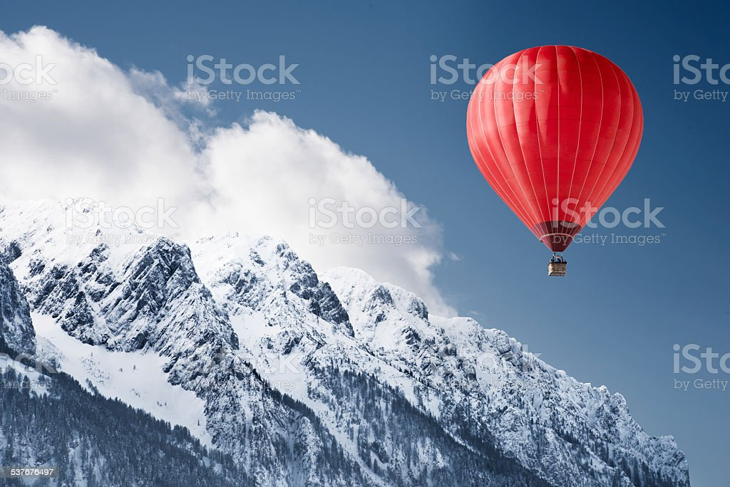 Balloon over winter landscape stock photo