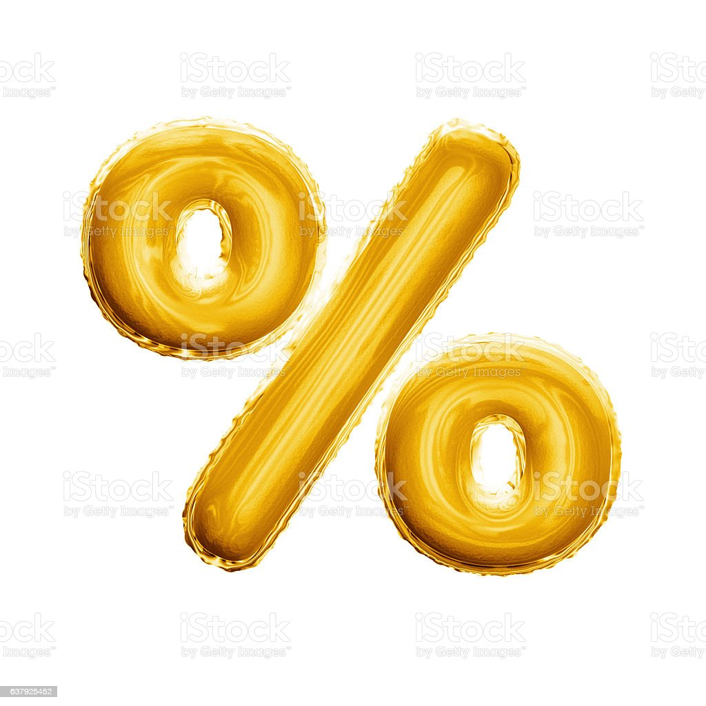 Balloon percentage sign symbol 3D golden foil realistic alphabet bildbanksfoto
