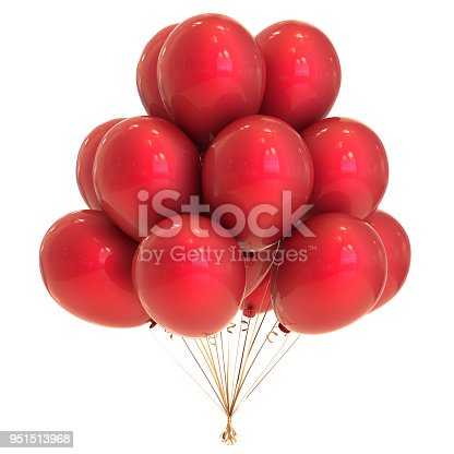 istock Balloon red birthday party decoration bunch balloons 951513968