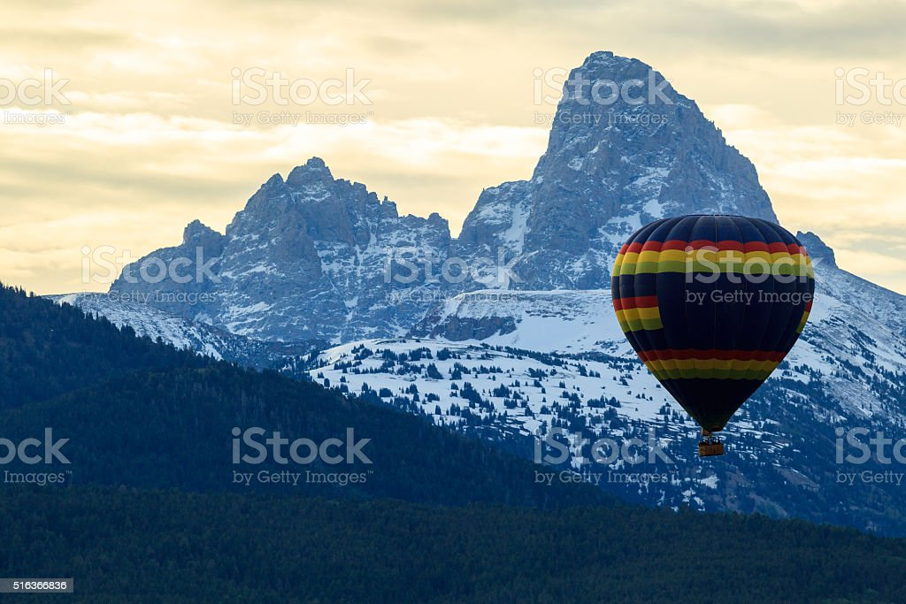 Balloon Ride In The Tetons stock photo