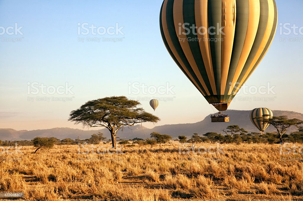Balloon ride over the Serengeti, Tanzania stock photo