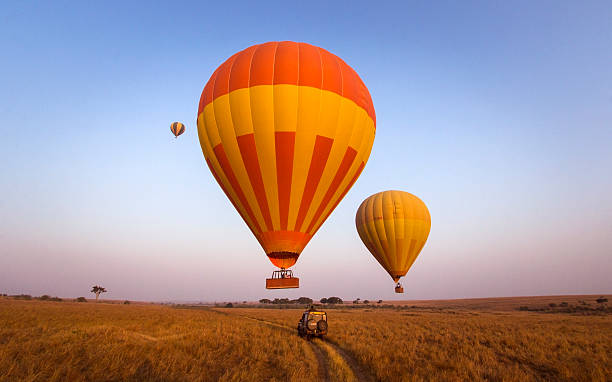 balloon safari - safari stock photos and pictures