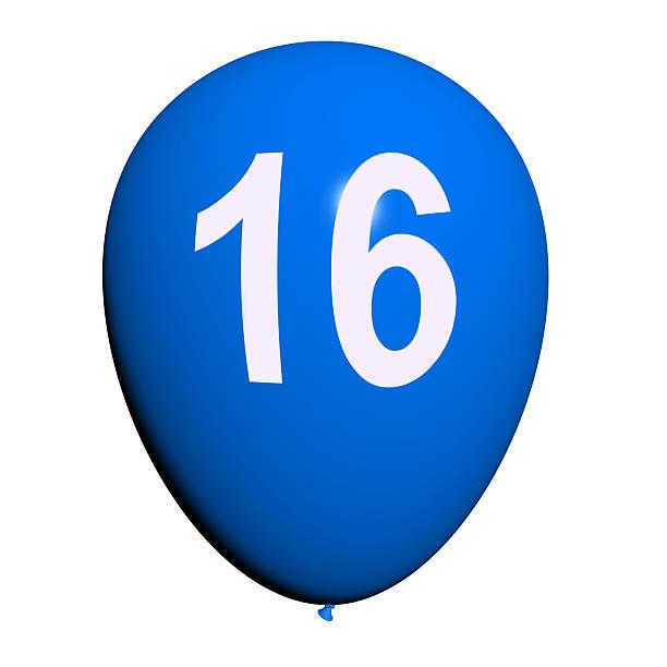 16 balloon zeigt sweet 16 geburtstagsparty - glückwünsche zum 16. geburtstag stock-fotos und bilder