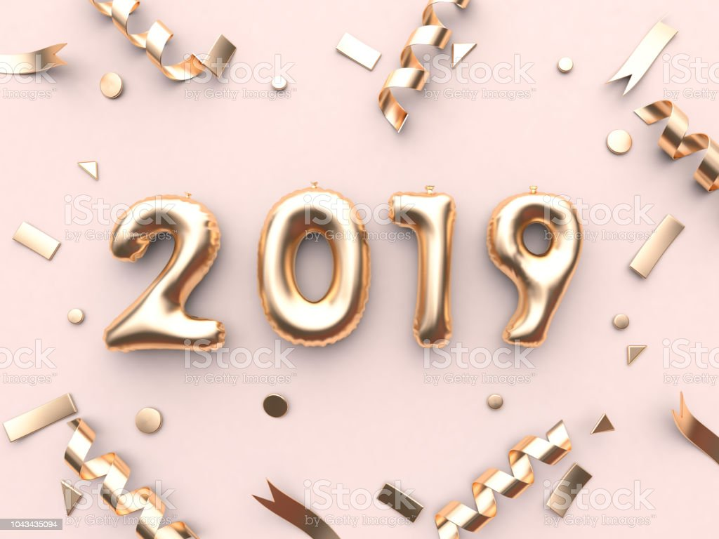 2019 balloon text/number and gold ribbon metallic pink background 3d rendering