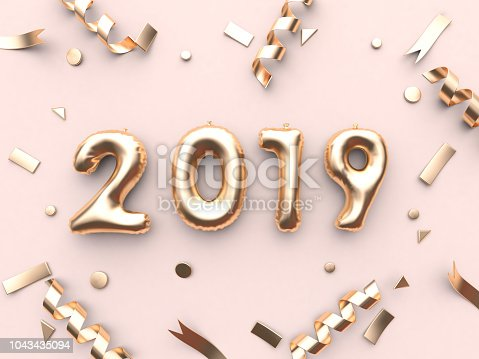 istock 2019 balloon text/number and gold ribbon metallic pink background 3d rendering 1043435094