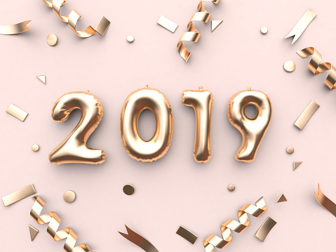 1043423158 istock photo 2019 balloon text/number and gold ribbon metallic pink background 3d rendering 1043435094