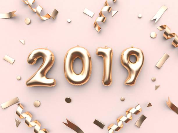 2019 ballon/handynummer und gold band metallic rosa hintergrund 3d-rendering - 3d typografie stock-fotos und bilder