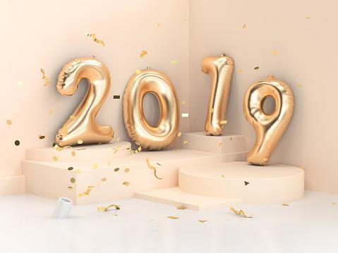 1043423158 istock photo 2019 balloon text/number gold 3d rendering geometric corner wall scene 1043435102