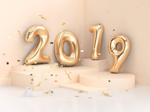 2019 ballon textnummer/gold 3d rendering geometrischen ecke wand szene - 3d typografie stock-fotos und bilder