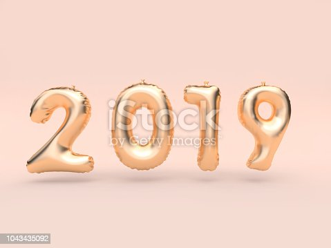 1043435102 istock photo 2019 balloon text/number gold floating 3d rendering pink background 1043435092