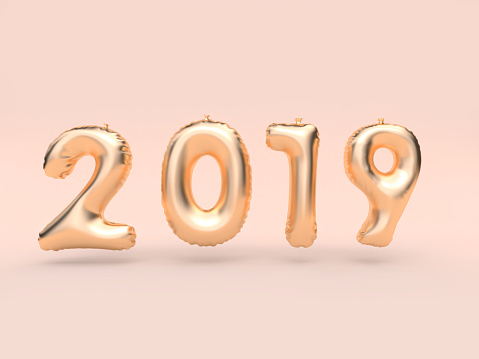 1043423158 istock photo 2019 balloon text/number gold floating 3d rendering pink background 1043435092